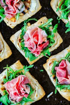Puff Pastry Appetizer with Grilled Pear, Prosciutto and Goat Cheesewomansday
