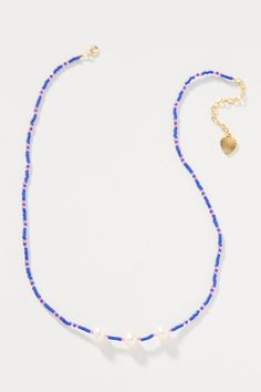Kelley Pearl Necklace by Sandy Hyun in Blue Size: All, Jewelry at Anthropologie Tiny Necklace, Good Luck Necklace, Evil Eye Necklace, Cluster Necklace, Beaded Necklace, Summer Necklace, Pearl Necklaces, Diamond Initial Necklace, Diamond Cross Necklaces