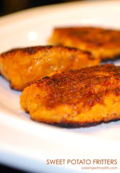Sweet Potato Fritters - pack just the right amount of heat to these savory sweet potato bites. #cookingwithcaitlin