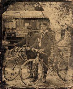 Vintage tintype - Cyclists