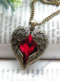 Red crystal heart shape with angel wings