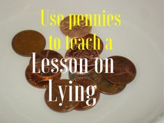 A fun Lesson on lying using pennies for your kids Lesson on Lying Group Activity The purpose of this activity is to show how hard it is to cover up a lie once it is told. This activity would go great with this family devotion. Kids Church Lessons, Youth Lessons, Fhe Lessons, Bible Lessons For Kids, Character Education Lessons, Guidance Lessons, Sunday School Activities, Sunday School Crafts, Church Activities
