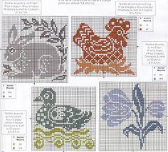 X-stitch Rabbit, Chicken, Duck & Flower Chart