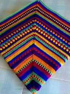 """Crochet blanket Granny style - Tutorial Manta MIX -  instructions are in Spanish an English, and the pictures are self-explanatory to do this blanket. It's a matter of playing with colors and stitches. I'm not a fan of """"no diagram"""" but this tutorial and pictures is excellent work."""