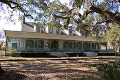The Myrtles Plantation, St Francisville, LA. Built ca 1796, now a B & B, supposedly one of the most haunted houses in America. I love the wrought iron around the porch, and the big mossy trees. <3