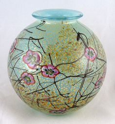 'Spring'  - by Timothy Harris, glass artist | globe vase, 10cm diameter | signed and numbered 19/34.
