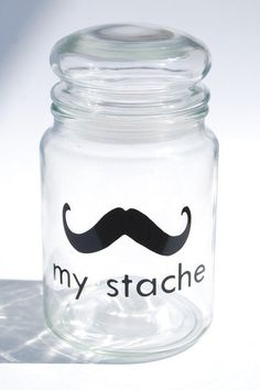 POSSIBLE DIY  Stache Jar  A perfect place to hide your personal 'stache' of whatever! Makes an unique gift for the ideal person.  Sold on Etsy.