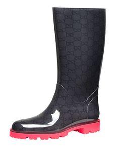 X1R2G Gucci Flat Neon-Sole Rain Boot, Pink