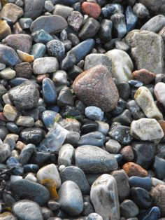 Beaches, particularly stony or rocky ones Beach Stones, Stony, Beaches, Colours, Texture, Fruit, Surface Finish