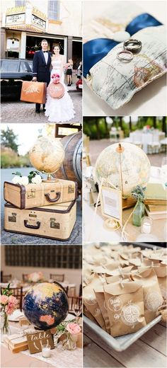 Unique Globe Wedding Theme Ideas / http://www.deerpearlflowers.com/travel-themed-wedding-ideas-youll-want-to-steal/2/