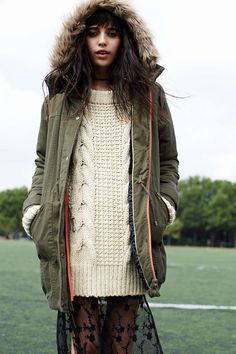 Numph X UO Anola Neon-Trim Parka - Urban Outfitters