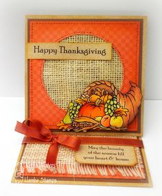 handmade Thanksgiving card ... easel card ... luv the use of burlap for texture ... cornucopia colored with colored pencils ... lovely!!