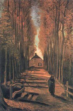 Vincent Van Gogh - Avenue of poplars at sunset (1884)