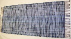 """Rag Rug -  Denim and Flannel  """" Recycled Blue Jeans"""" - Runner length 62.5"""" on Etsy, $64.00"""