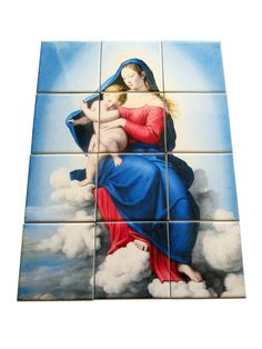 """Virgin and Child Jesus in Glory - devotional tile mural / mosaic - Now available on Etsy:  >>>https://www.etsy.com/listing/274763406 <<<  This mural was inspired by a wonderful painting by the italian painter """"Sassoferrato"""". Composed by 12 ceramic tiles. Suitable indoor or outdoor. Ready to hang. 100% handmade in Italy by @TerryTiles2014  #virginandchild #virgin #mary #virginmary #mothermary #jesus #childjesus #catholic #catholicism #mosaic #tiles #tileart #handmade #catholicchurch…"""