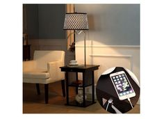 Floor Lamps with Table Attached End Table Built in Two Tier Black 2 USB Ports Ou #Brightech