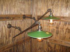 Pair Vintage Industrial Articulating Arm Wall by VintageIronworks Vintage Industrial Decor, Industrial Lamps, Industrial Design, Work Lights, Mirror With Lights, Lamp Design, Wall Sconces, Light Up, Light Fixtures