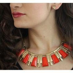 Set de collar y aretes en base dorada con detalles en tono rojo estilo 30232 + fotos click aquí