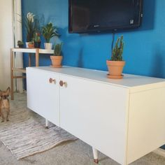 10 DIY Entertainment Center That's Simply Entertaining for Everyone Tv Stand Ikea Hack, Diy Tv Stand, Trendy Furniture, Diy Furniture, Tv Stand Legs, Diy Entertainment Center, Furniture Makeover, Ikea Makeover, Tv Stands