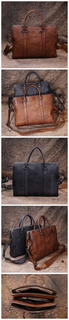 7b983818dc32 Handmade Vintage Brown Leather Briefcase Men s Business Bag Handbag Fashion  Laptop Bag 14119 - Standard Size(13.3   Laptop)   Vintage Brown