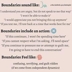 Mental And Emotional Health, Emotional Healing, Mental Health Awareness, Boundaries Quotes, Personal Boundaries, All That Matters, Codependency, Assertiveness, Coping Skills