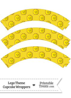 Yellow Lego Theme Cupcake Wrappers