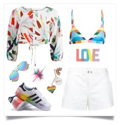 """love"" by tato-eleni ❤ liked on Polyvore featuring Loveless, Mara Hoffman, adidas, Yves Saint Laurent, Givenchy, Native State and pride"