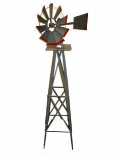8' American Windmill, Lawn Ornament, Easily Assembled, Steel Contructi