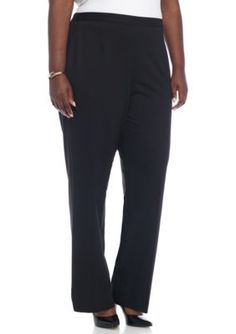 Alfred Dunner Black Plus Size Casual Friday Medium Pants