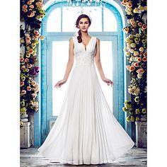 Lan+Ting+Sheath/Column+Plus+Sizes+Wedding+Dress+-+Ivory+Floor-length+V-neck+Chiffon+–+USD+$+99.99