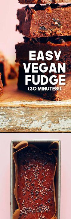 EASY Vegan Fudge that's HEALTHY! 8 ing, 30 min, SO chocolaty and rich! #vegan #plantbased #glutenfree #fudge #recipe #minimalistbaker