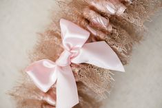 blush and shimmer lace bridal garter - hand made wedding garter by The Garter Girl