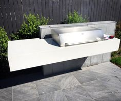 Polished Concrete Outdoor Kitchen/BBQ Benchtop by Mitchell Bink Concrete Design… Concrete Bench, White Concrete, Concrete Design, Stained Concrete, Polished Concrete, Poured Concrete, Concrete Garden, Outdoor Kitchen Countertops, Concrete Kitchen