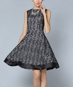Look at this LAKLOOK Black Geometric Lace A-Line Dress - Plus Too on #zulily today!