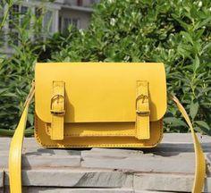 Handmade Artisan Genuine Leather Women's Messenger Bag / Shoulder Purse in Yellow