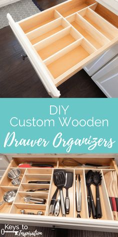 Super easy way to make custom wooden drawer organizers! Super easy way to make custom wooden drawer organizers! Wooden Drawer Organizer, Kitchen Drawer Organization, Diy Kitchen Storage, Organizing Drawers, Diy Drawer Dividers, Kitchen Organizers, Kitchen Tops, Kitchen Pantry, New Kitchen