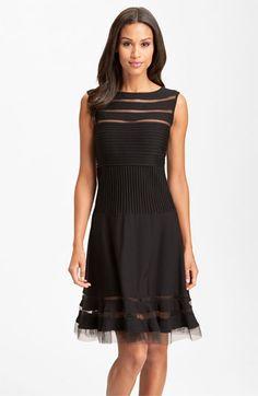Tadashi Shoji Sleeveless Mesh Stripe Jersey Dress | Nordstrom