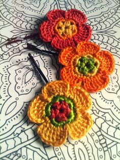 Summer Heat Crochet Flower Hair Pins by CatWomanCrafts on Etsy, $10.00
