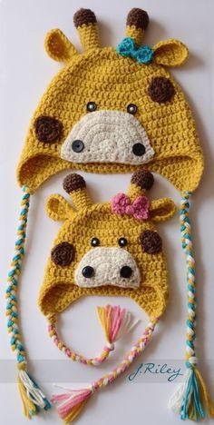 Gorros de jirafa, bebé y niños