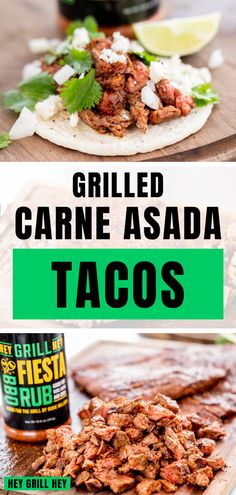 These Grilled Carne Asada Tacos are the perfect go-to dinner when you need to get delicious dinner on the table fast. They're seasoned with my awesome Fiesta Rub and kept nice and simple for an easy taco that the entire family will love.