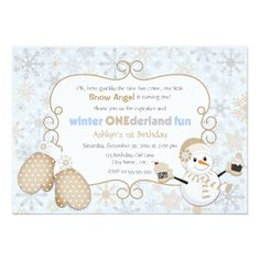 Cupcake Birthday Invitations Winter One-derland 1st Birthday Invitation