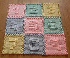 Ravelry: Numbers Motifs Baby Blanket pattern by Peach. Unicorn