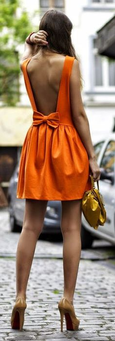 Tangerine Bow Backless Little Dress | You can find this and many other looks at => http://feedproxy.google.com/~r/amazingoutfits/~3/F3VObIYq7dI/AmazingOutfits.page