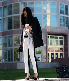 These two-tone cropped pants are perfect for the work place!  Get this look (pants, blouse, coat, pumps) http://kalei.do/Wbj0csamo0o7UDBD
