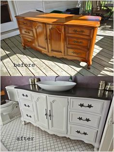 I love this buffet turned bathroom vanity! I NEED it in my life!