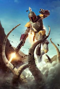 Amazing Star Wars art prints Boba Fett killing the Sarlacc and escaping.