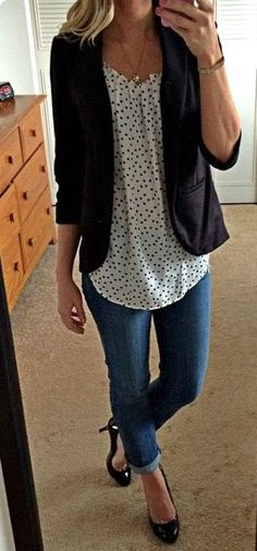Polka dot top is adorable - would also pair this top with a cardigan or wear by itself: https://www.stitchfix.com/referral/7436011?sod=w&som=c