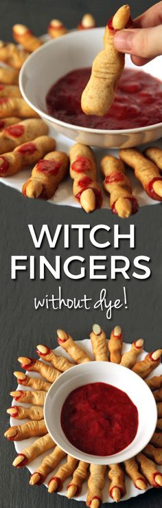 These healthier bloody witch fingers use jam in place of food coloring! Can be made with all-purpose flour or with whole wheat for a 100% whole grain version. The perfect Halloween recipe!