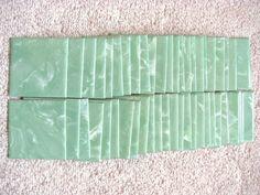 Lot 50 Vtg Retro Unitile Green Marbled Plastic Bathroom Kitchen Wall Tile 4  1/4