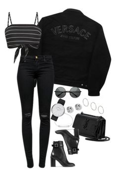 Love this Black on Black Winter Outfits, Casual Outfits, Cute Outfits, Fashion Outfits, Womens Fashion, Versace Jeans Couture, College Fashion, Polyvore Outfits, School Outfits